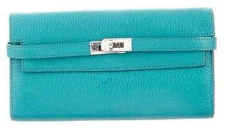 Hermà ̈s Chevre Mysore Kelly Longue Wallet Turquoise Hermà ̈s Chevre Mysore Kelly Longue Wallet