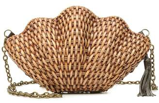 Kayu Jane wicker shell clutch