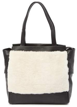 Kooba Yukon Leather & Genuine Shearling Tote Bag