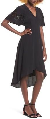 Women's Astr The Label Crochet Sleeve Wrap Dress $75 thestylecure.com