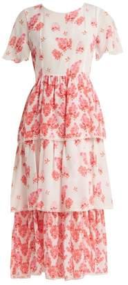 Athena Procopiou - Sundown Breeze Tiered Silk Dress - Womens - White Multi