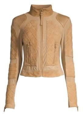 Blanc Noir Suede & Mesh Moto Jacket