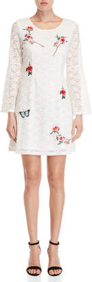 Yumi Embroidered Corded Lace Swing Dress