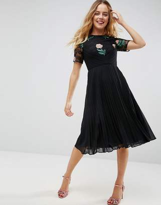 Asos Embroidered Midi Pleat and Lace Dress