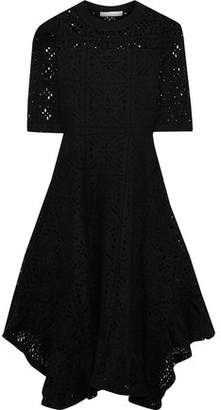 See by Chloe Flared Pointelle-knit Cotton-blend Midi Dress