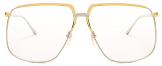 Gucci Oversized Metal Glasses - Womens - Gold