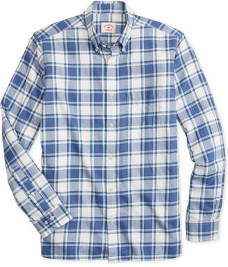 Brooks Brothers Men Summer Twill Slim-Fit Plaid Cotton Shirt