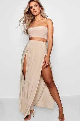 boohoo Plus Slinky Double Slit Maxi Skirt
