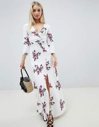 Lasula Floral Long Sleeve Split Maxi