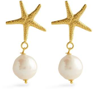 Sirena Soru Yellow Gold-Plated and Pearl Earrings