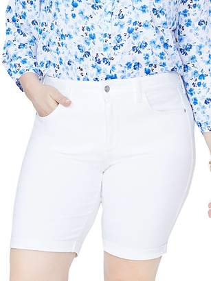 NYDJ Plus Briella Roll-Cuff Bermuda Shorts in Optic White
