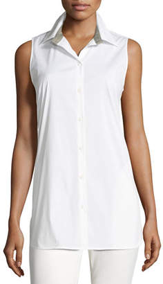 Lafayette 148 New York Jenice Sleeveless Button-Front Stretch-Cotton Blouse