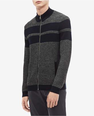 Calvin Klein Men's Textured Stripe Full-Zip Cardigan