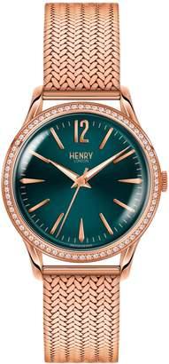 Henry London - Ladies 34mm Stratford Stainless Steel Bracelet Watch with Stone set Bezel