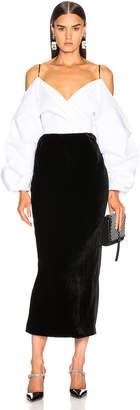 Rasario Cold Shoulder Midi Dress in Black & White   FWRD