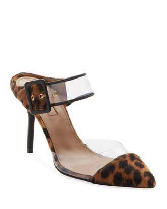 Aquazzura Optic Slide Pointed Leopard-Print Fur Mule