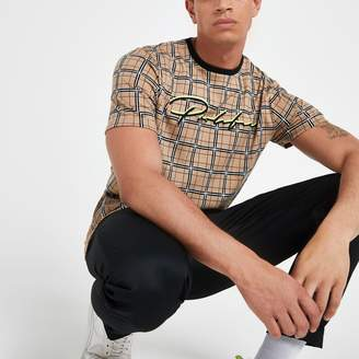 River Island Mens Brown 'Prolific' check slim fit T-shirt