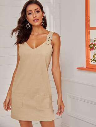 Shein Dual Pocket Front Solid Dress