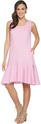 Joan Rivers Classics Collection Joan Rivers Petite Length Sleeveless Denim Dress w/ Flounce Hem