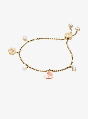 Michael Kors Two-Tone Floral Charm Slider Bracelet