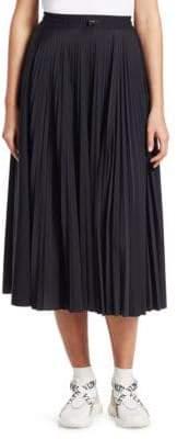 Valentino Wool Plisse Logo Midi Skirt