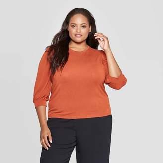 Ava & Viv Women's Plus Size 3/4 Sleeve Crewneck Sandwash Top