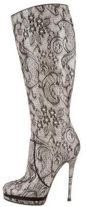 Casadei Lace Platform Knee-High Boots