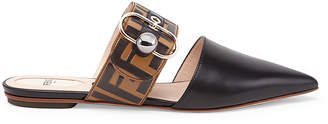 Fendi Logo Print Leather Slides