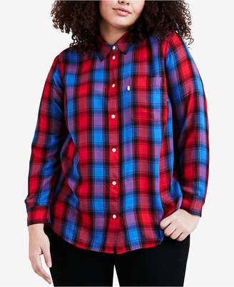 Levi's Plus Size Ryan Cotton Plaid Relaxed Shirt