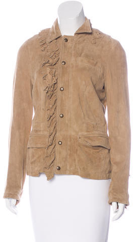 RED ValentinoRed Valentino Suede Laser Cut-Accented Jacket