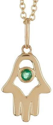 Bony Levy 18K Yellow Gold Emerald Hamsa Pendant