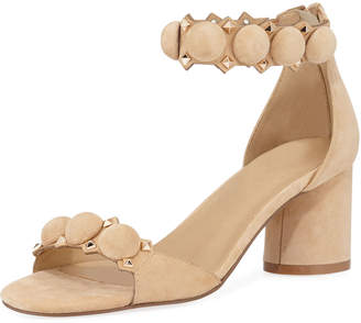 Neiman Marcus Lila Studded Suede Ankle-Strap Sandals Camel