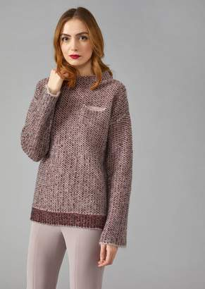 Giorgio Armani Jacquard Knit Rhombus Sweater With Crystal Embellishments