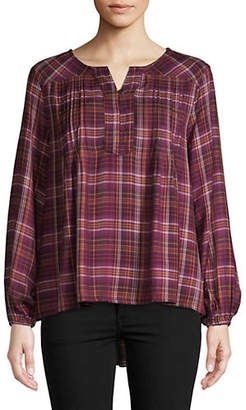 Style&Co. STYLE & CO. Fall Valley Plaid Peasant Top