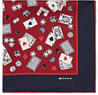 Kiton Men's Playing Cards-Print Silk Twill Pocket Square
