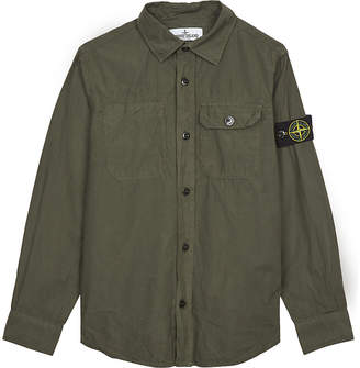 Stone Island Compass patch cotton shirt 4-14 years $115 thestylecure.com