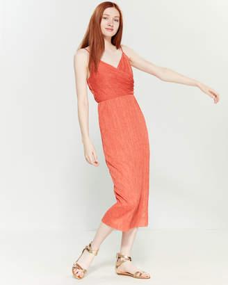 Lush Plisse Surplice Midi Dress