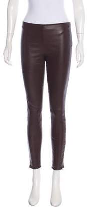 The Row Leather Mid-Rise Skinny Pants Aubergine Leather Mid-Rise Skinny Pants