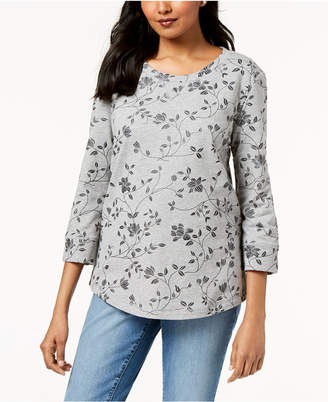 Karen Scott Printed 3/4-Sleeve Sweatshirt, Created for Macy's