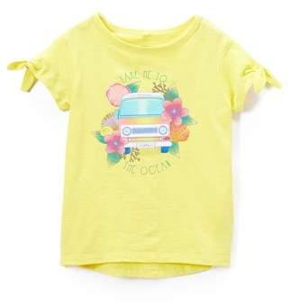 Cherokee Tropical Tie-Sleeve Metallic Graphic T-Shirt (Little Girls & Big Girls)