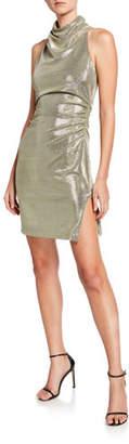 Halston Metallic Draped Mock-Neck Sleeveless Mini Dress