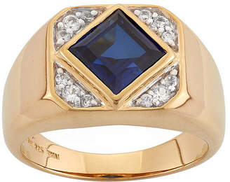 FINE JEWELRY Mens Lab-Created Blue And White Sapphire 14K Gold Over Silver Ring