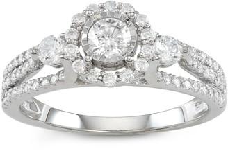 Vera Wang Simply Vera 14k White Gold 1 Carat T.W. Halo Diamond Ring