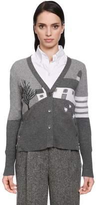 Thom Browne Grey House Cashmere Knit Cardigan