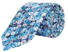 Burton Mens Blue Micro Floral Print Tie