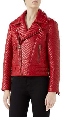 Gucci Heart Quilted Leather Biker Jacket