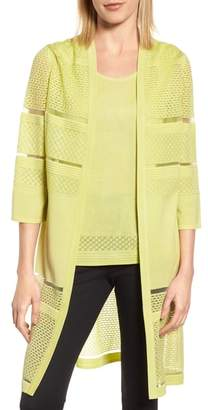 Ming Wang Long Jacquard Knit Jacket
