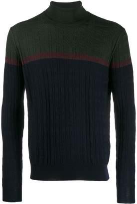 Corneliani colour block roll neck sweater
