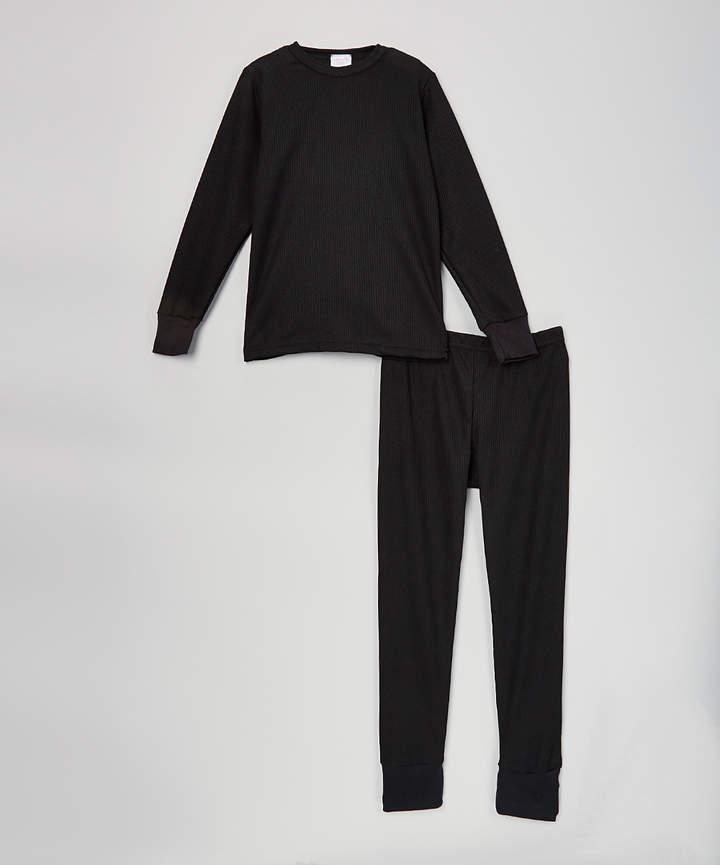 Black Waffle Thermal Underwear Set - Boys