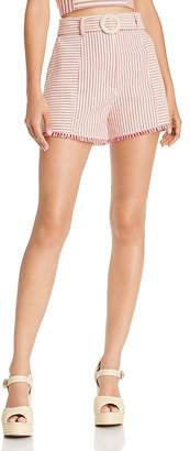 Aqua Belted High-Waisted Stripe Shorts - 100% Exclusive